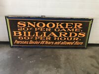 Billiards And  Snooker Tin Painted Sign, Not Porcelain, Gas And Oil Chevrolet