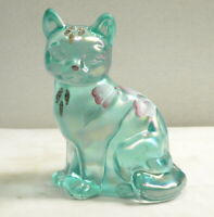 FENTON GREEN OPALESCENT SITTING CAT FLOWER DESIGN HANDPAINTED-LABEL-SIGNED