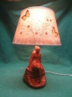 Vtg Van Briggle Pottery Lamp Indian Maiden Butterfly Shade Daydreamer Brown