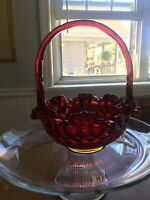 "Fenton Amberina Red Thumbprint Glass Basket Signed 9""x9"""