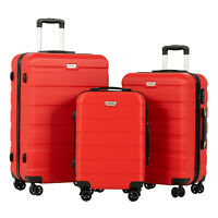 3PCS Luggage Set Travel Bag Trolley Spinner Carry On Suitcase With TSA Lock Red
