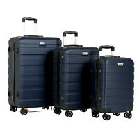 3PCS Luggage Set Travel Bag Trolley Spinner Carry On Suitcase With TSA Lock Blue