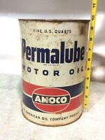 Vintage 5 Quart Standard Oil Permalube motor oil can AMACO gas station Advertise