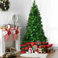 7Ft Pre-Lit PVC Artificial Christmas Tree Hinged w/ Colorful LED Home