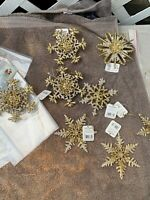 RAZ GOLD SNOWFLAKE ORNAMENT~Christmas~tree/wreath/Glitter Lot Of8 K15