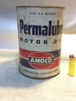 Vintage 5 quart Standard Oil Permalube motor oil can Amoco gas station advertise