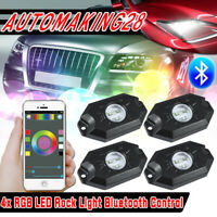 4PCS RGB LED Multi-Color Offroad Rock Lights Wireless Bluetooth For Truck Jeep