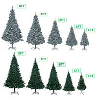 5/6/7/8Ft Christmas Tree Xmas Pine Green and Snow Flakes with Metal Stand