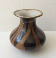 "Nice Vintage Stoneware Art Pottery Glazed Brown Vase 4 5/8"" H"