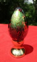 GES Signed 1994 Iridescent Art Glass Egg Paperweight (stand not included)