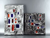 West German Pottery Vintage Retro 1970s TWO Brutalist Fat Lava WALL TILES PLATES