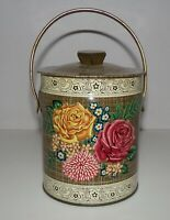 Vintage Murray Allen Tin Imported Quality Confections Canvas Rose Floral Design