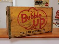 VINTAGE BUBBLE UP SODA WOODEN CRATE BOX SIGN 50s OLD DISPLAY RACK 7up COCA-COLA