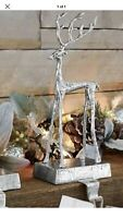 Pottery Barn SCULPTED REINDEER STOCKING HOLDER Large Silver Deer New In Box