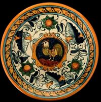 TALAVERA hand painted ROOSTER red ware plate MEXICO folk art signed 11 1/2