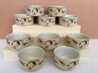 Vntg 10pc Hall Pottery Jewel Tea Autumn Leaf Mary Dunbar 5 Custard Cup 5 Ramekin