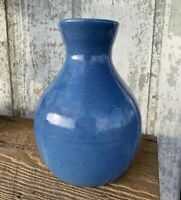 Antique Ruckel's Pottery White Hall Stoneware Illinois Blue Large Vase
