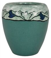 Saturday Evening Girls Paul Revere Pottery Lotus Blossom Teal Vase