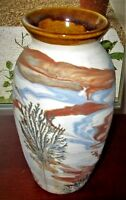 Vintage Pottery Vase Sevierville Tennessee Earth Colors Brown Cream Blue Trees