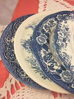 4 Vintage Mismatched China Transferware Dinner Plates Blue and White # 288