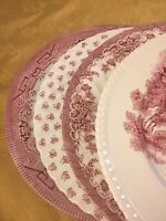 4 Vintage Mismatched China Ironstone Dinner Plates pink White Transferware #188