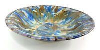 Pat Lester Virginia Artist Blue/Brown Drip Glaze Pottery Handcrafted Bowl Signed