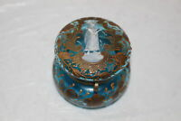 ANTIQUE VICTORIAN BLUE MOSER MARY GREGORY GLASS HINGED JAR TRINKET BOX
