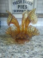 Fenton Amber Colonel King Thumbprint Epergne