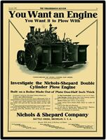 1911 Nichols & Shepard Traction Engine New Metal Sign: LARGE SIZE 12 X 16