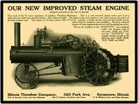 Illinois Steam Traction Engine Tractor New Metal Sign: LARGE SIZE 12 X 16