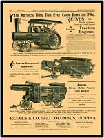 1899 Reeves Compound Traction Engine ++ New Metal Sign: LARGE SIZE 12 X 16