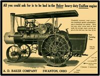 A.D. Baker Steam Traction Engine Swanton, OH New Metal Sign: LARGE SIZE  12 X 16