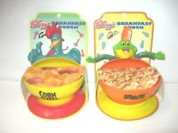 NEW Vintage Lot of 2 Kellogg's Cereal Bowls Suction Cup Corn Flakes Sugar Smacks