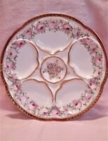 Antique 5 Well Oyster Plate Pink Cabbage Roses Medallion Center Theo Haviland Li