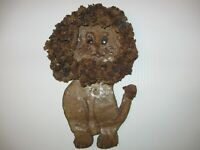 Signed OAK Handcrafted 3D Pottery Lion Wall Hanging Intrigate Mane
