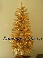 SATIN  GOLD Classic Christmas Tree 4 Ft Pre-lit with 75 Clear lights