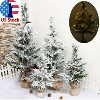 2/3/4ft Pre-Lit Artificial Christmas Tree Led Lights Fiber Optic Decorations US