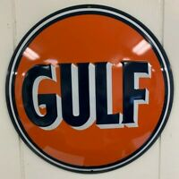 Ande Rooney GULF ROUND Gas and Oil Button Garage Man Cave Tin Sign