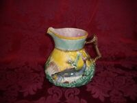 Antique Majolica Pitcher with Fish, Shell, Waves and Seaweeds in Nautical Scene