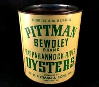 Vintage PITTMAN BEWDLEY OYSTER RAPPAHANNOCK RIVER TIN Rare Old Advertising Can