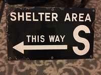 Antique Atomic Cold War Era Porcelain Nuclear Bomb Shelter Sign 1940s 1950s Army