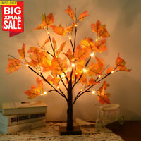24 LED Lighted Tabletop Fall Maple Tree With Warm White LED Lights Xmas Decor US
