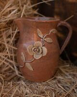 Hard to Find Jack amp; Jessie Meaders Georgia Folk Art Pottery 7quot; Vase Flowers