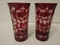 2 Vintage Ruby Red Cut to Clear Art  Stag Deer Castle 6