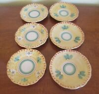 Made in Italy, Six Ceramic Snack Plates - Yellow Rim, Excellent Condition
