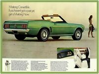 1969 Ford Mustang Metal Sign: Green Mustang Convertible Pictured