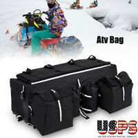 ATV Rear Rack Soft Luggage Storage Cargo Gear Pack Tank Saddle Bag Black US