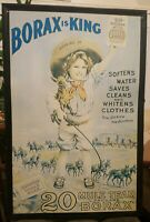 LARGE VINTAGE OLD TIN BORAX IS KING SOAP ADVERTISING SIGN