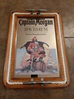 Captain Morgan Spiced Rum Wall Mirror Sign Rope Serving Tray Nautical Pirate