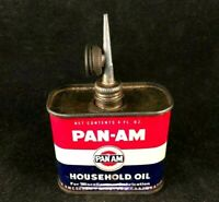 Vintage PAN-AM HOUSEHOLD OIL HANDY OILER DUAL CAP Rare Old Advertising Tin Can